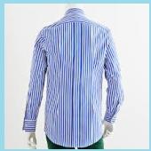 ブルーのストライプワイシャツ