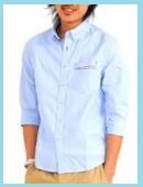 メンズ七分袖ブルーシャツ1