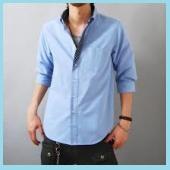 メンズ七分袖ブルーシャツ2