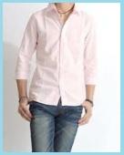 七分袖ピンクシャツ2