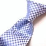 水色チェック柄ネクタイ